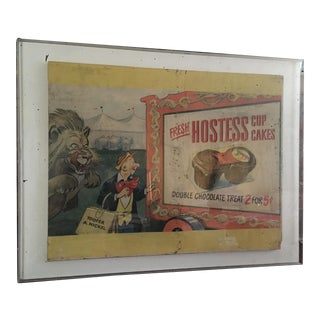 1930s Vintage Big Top, Circus Lion Graphics Hostess Cupcake Advertising Poster For Sale