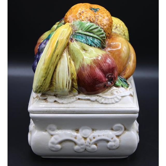 Italian Ceramic Fruit Lidded Box For Sale - Image 6 of 11