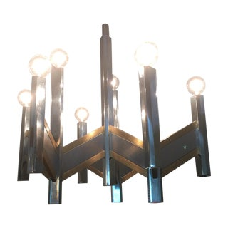Chrome & Brass 9-Light Chandelier by Sciolari For Sale