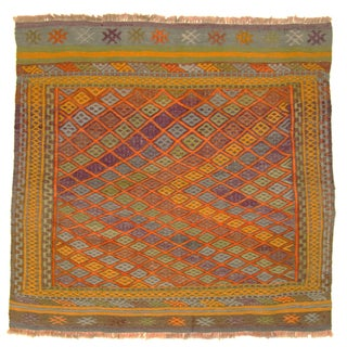 Bright & Colorful Vintage Turkish Kilim - 2'9 X 3' For Sale