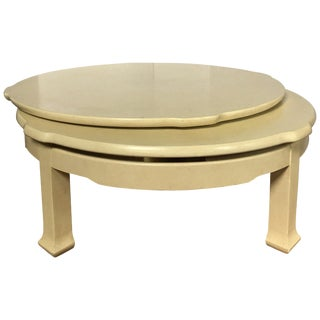 Hollywood Regency Sculptural Two-Tier Round Swiveling Coffee Table For Sale