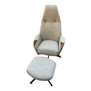 Mid Century Modern Upholstered Adrian Pearsall Swivel High Back Chair and Ottoman - 2 Piece Set For Sale
