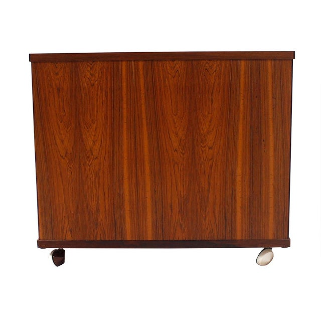 Danish Modern Rosewood Rolling Book Caddy Table - Image 3 of 5