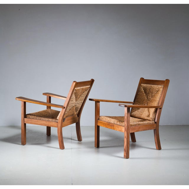 Arts & Crafts Pair of Willi Ohler Chairs in Oak and Original Rush, Germany, 1920s For Sale - Image 3 of 5