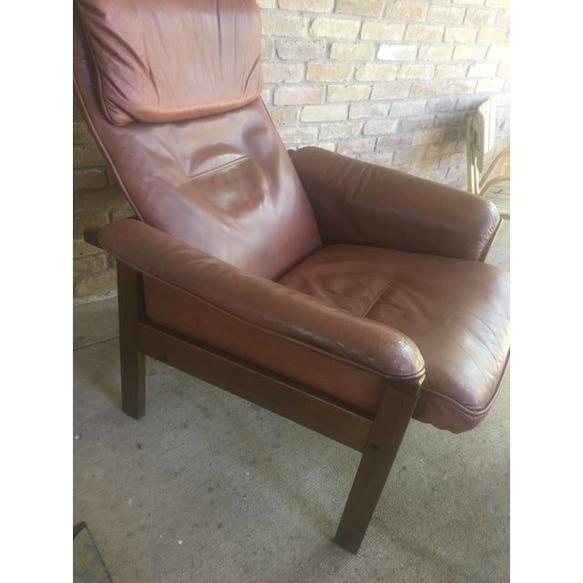 Brown G Mobel Sweden Reclining Lounge Chair & Ottoman For Sale - Image 8 of 11