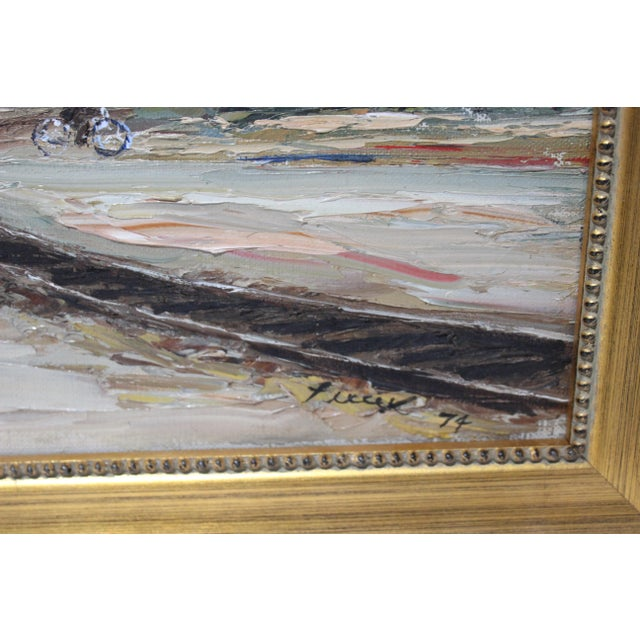 Modern Vintage Oil Painting Buzzards Bay Cape Cod Palette Knife Technique For Sale - Image 3 of 12