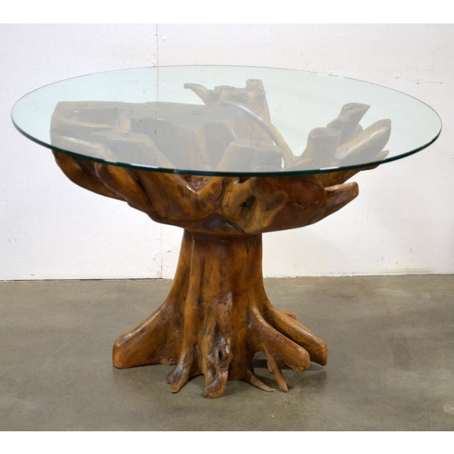 Live Teak Root Dining Table With Glass Top Chairish