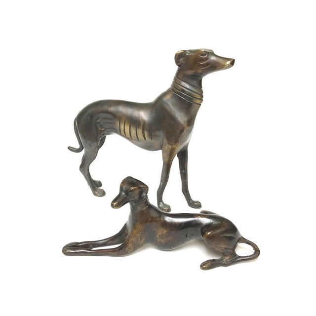 Art Deco Vintage Mid Century Heavy Bronze Greyhound Dog Figurines- A Pair For Sale - Image 3 of 12