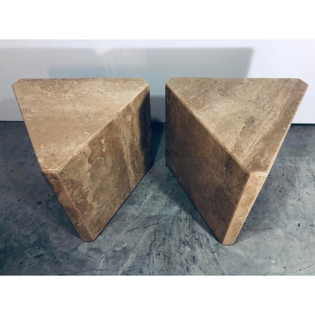 1970s Mid-Century Modern Pair of Italian Travertine Pedestal or Side Tables For Sale - Image 4 of 10