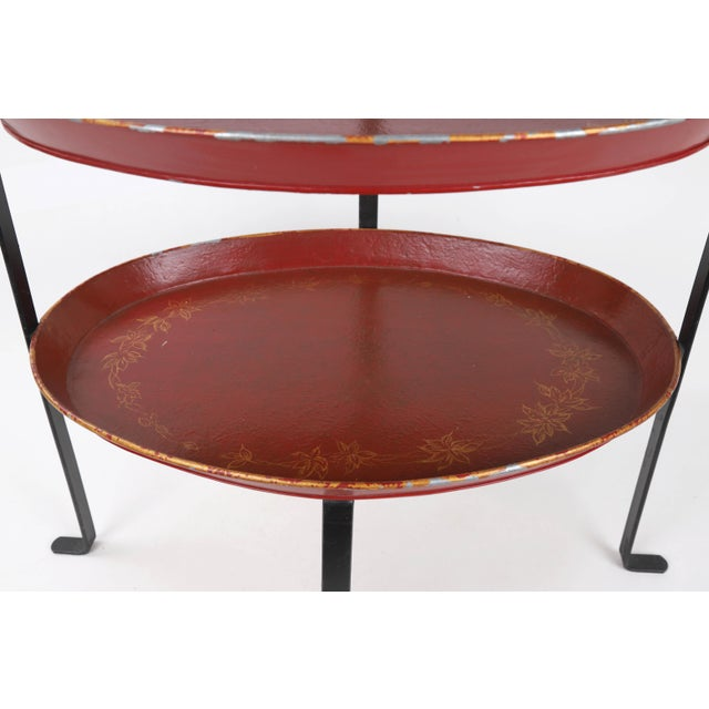 1980s Vintage Curved Metal Tray Stand With Red Trays For Sale - Image 5 of 8