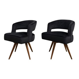 Mid-Century Modern Anthracite Velvet Upholstered Danish Club Chairs - A Pair