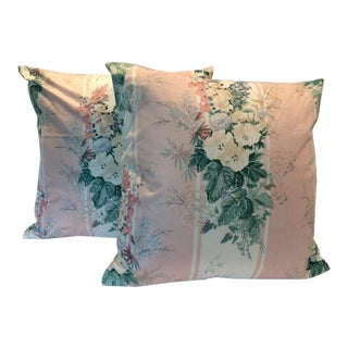 Thibaut Pink Spring Floral Polished Cotton Pillows - A Pair For Sale