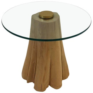 Wood Log and Glass Side Table in the Manner of Michael Taylor