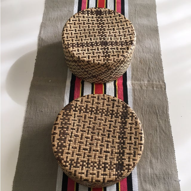 Vintage Woven African Round Box With Lid - Image 6 of 8