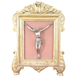 20th Century Italian 800 Silver Christ in 19th Century Golden Wood Frame For Sale