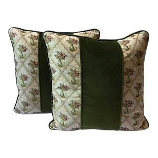 Silk Embroidered Velvet Down / Feather Pillows - A Pair For Sale