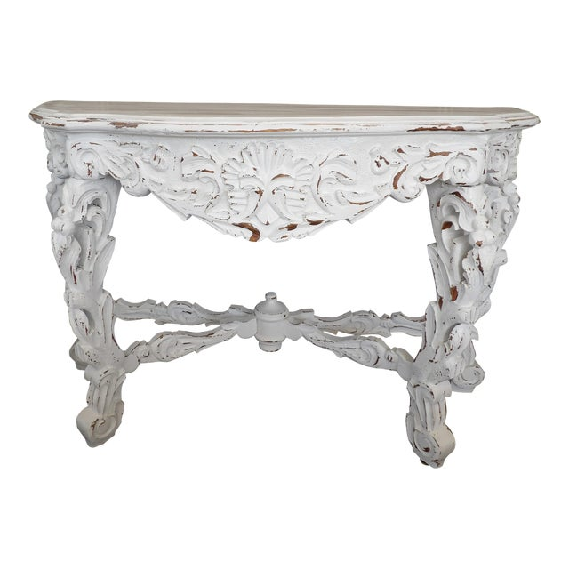 Late 20th Century Hand Carved White Distressed Finish Console Table For Sale