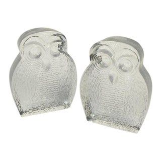 Vintage Blenko Art Glass Owl Sculpture Bookends - a Pair