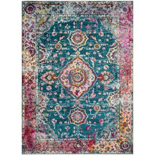 """Loloi Rugs Silvia Rug, Teal / Berry - 5'0""""x7'6"""" For Sale"""