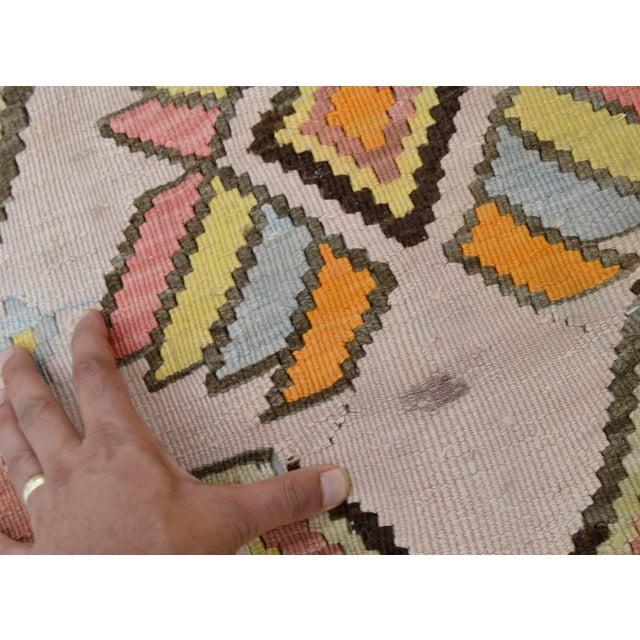 Turkish Hand Woven Shiny Tribal Runner Silk Rug - 3′10″ X 13′9″ For Sale - Image 9 of 10