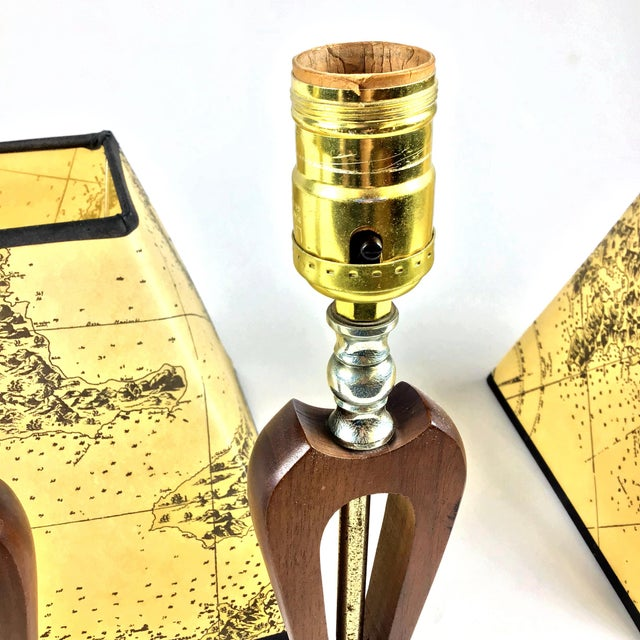 1960s Vintage Teak Marble Brass Italian Lamps - a Pair For Sale - Image 10 of 12