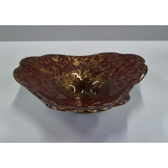Gold Large Murano Mid Century Cased Blown Glass Vessel For Sale - Image 8 of 11