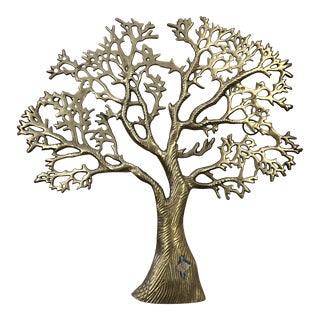 Brass Tree Wall Sculpture For Sale