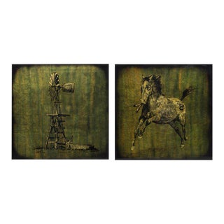 "Jack White ""Horse & Windmill"" Double-Sided Gilt Foil Art"