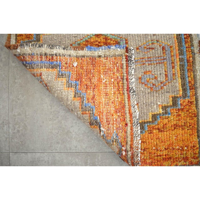 Distressed Low Pile Oushak Yastik Rug Faded Colors Vintage Petite Rug - 21'' X 42'' For Sale - Image 4 of 5