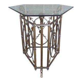 Maison Jansen Style Ram's Head Brass & Steel Center Table For Sale
