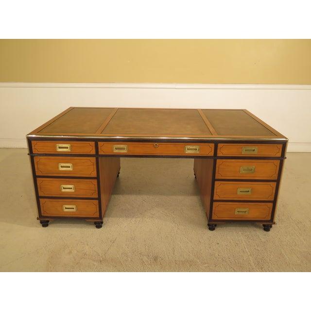 1970s Vintage Baker Satinwood Large Leather Top Executive Partner Desk For Sale - Image 13 of 14