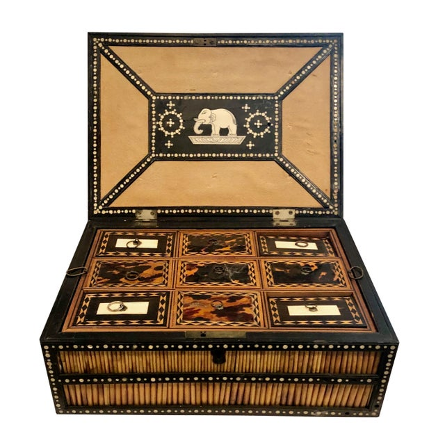 19th Century 19th Century Anglo Indian Porcupine Quill Decorated Work Box For Sale - Image 5 of 8
