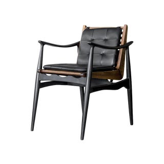 Atra Walnut and Leather Dining Chair by Atra For Sale