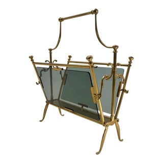 Vintage Maison Bagues Brass French Magazine Rack, C. 1960s For Sale