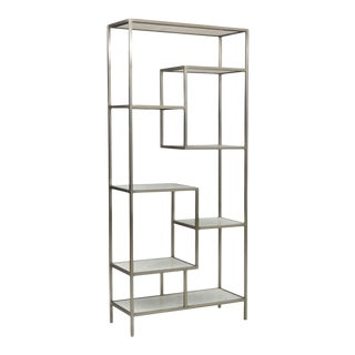 Modern White Marble & Nickel Finished Iron Shelf For Sale