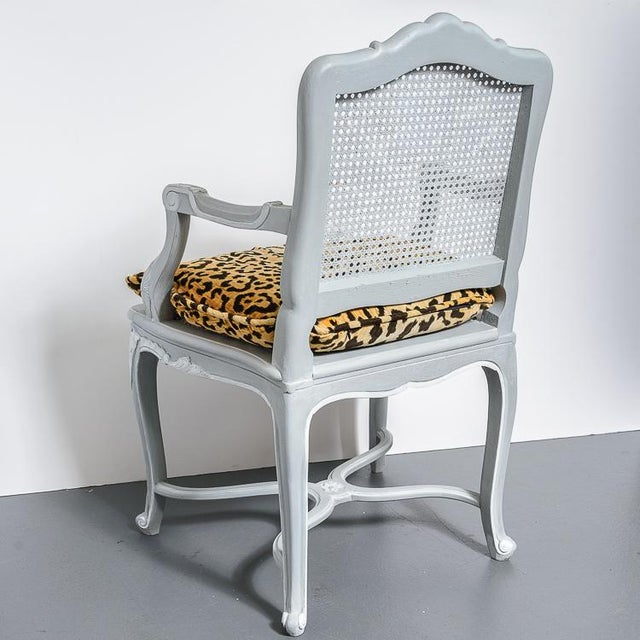 1940s French Painted Regence Style Caned Chairs With Leopard Velvet Print For Sale - Image 5 of 13