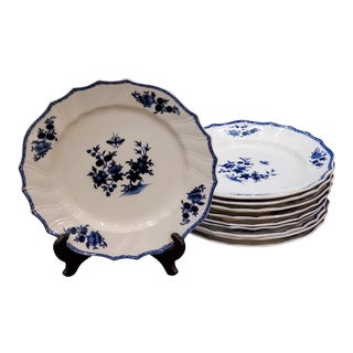 Tournai Belgian Blue and White Porcelain Plates - Set of 10, Late 18th C For Sale