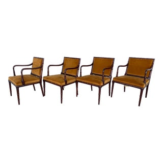 Hollywood Regency Faux Bamboo Upholstered Armchairs - Set of 4 For Sale