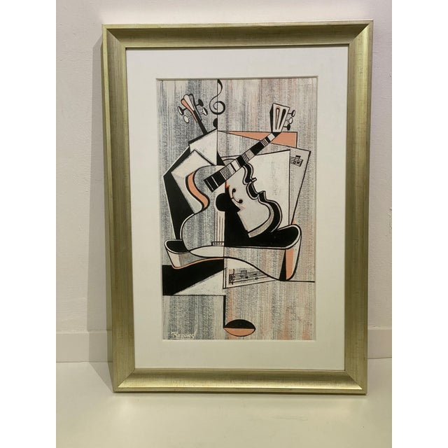 Mid-Century Modern Cubist Pastels Painting of Guitar For Sale - Image 4 of 13