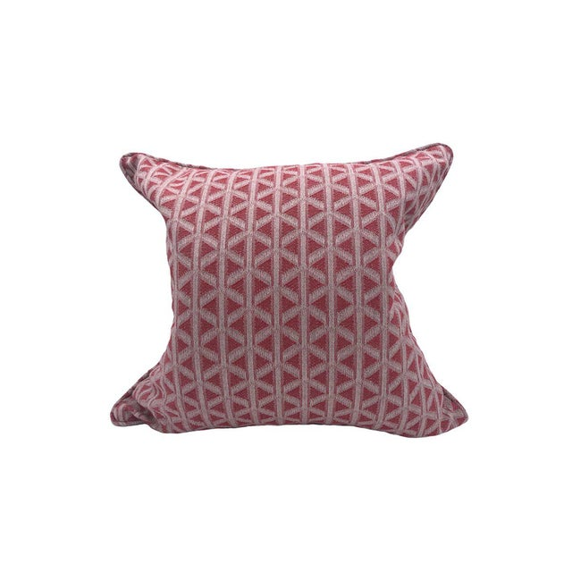 Transitional Scalamandre Cross Channel Pillow, Rouge For Sale - Image 3 of 3