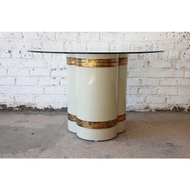 Mastercraft Bernhard Rohne for Mastercraft Acid Etched Brass Cream Lacquered Pedestal Dining Table For Sale - Image 4 of 12