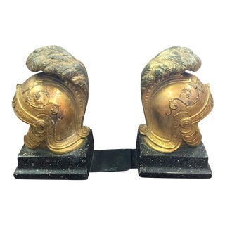 20th Century Antique Borghese Gladiator Helmet Bookends - A Pair