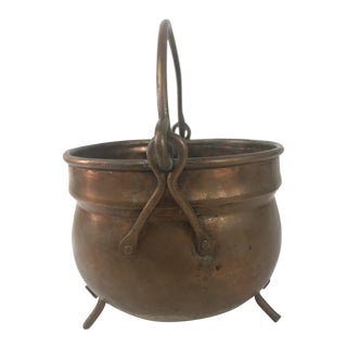 Hand Forged Footed Copper Pot For Sale