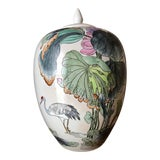 Image of Ginger Jar With Water Lillies & Cranes For Sale