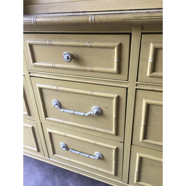 1970s Hollywood Regency Thomasville Faux Bamboo Dresser and Hutch For Sale - Image 9 of 13