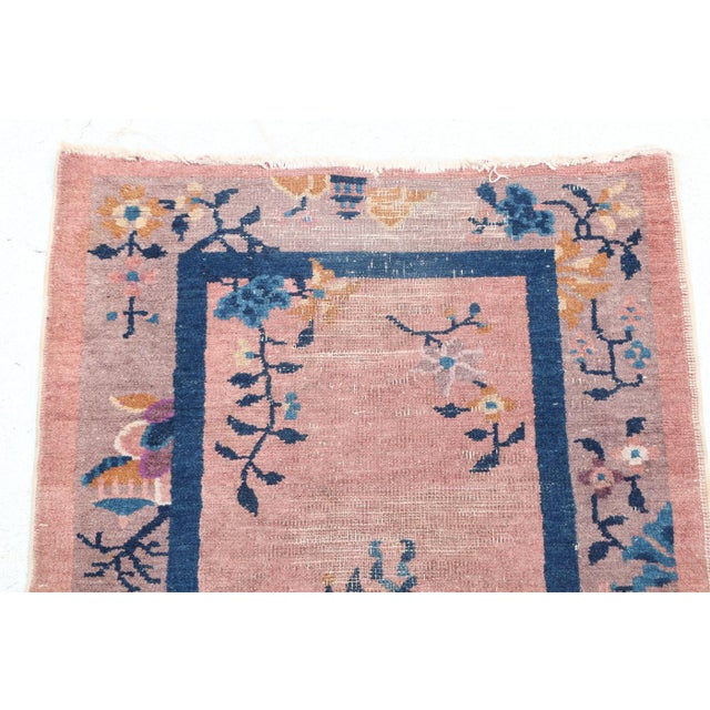 Art Deco Mid 20th Century Chinese Hand Knotted Floral Rug For Sale - Image 3 of 8