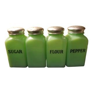 Jadeite Art Deco Green Food Shakers - Set of 4 For Sale