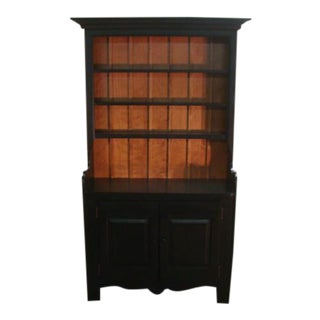 Nichols and Stone Primitive Style Solid Maple China Cupboard For Sale