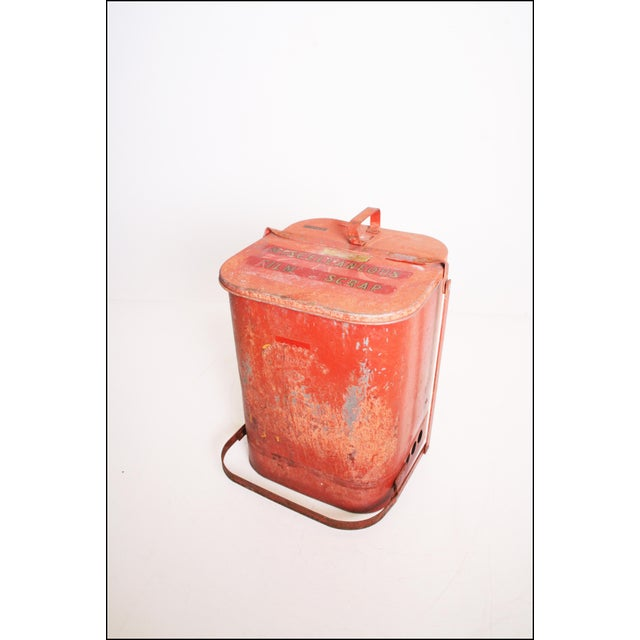 Red Vintage Industrial Red Metal Trash Can with Flip Top Lid For Sale - Image 8 of 11