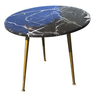 Vintage Mid Century Italian Style Marble Side Table Brass Legs
